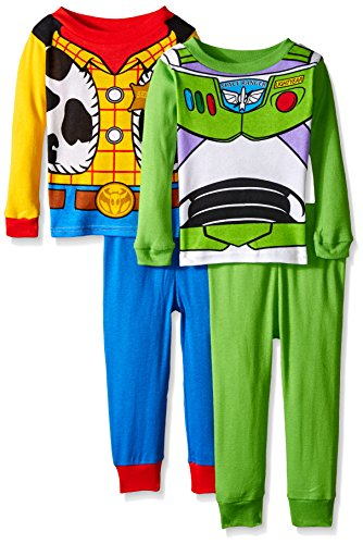 Pixar Little Boys' Toy Story Adventure Buddies Woody and Buzz 4-Piece Pajama Set, Multi, 4T