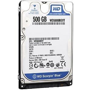 Western Digital Scorpio Blue 500 GB Bulk/OEM Hard Drive 2.5 Inch, 8 MB Cache, 5400 RPM SATA II WD5000BEVT