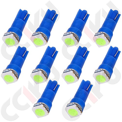 CCIYU 10 x T5 Ice Blue 58 70 73 74 Dashboard Gauge 1SMD 5050 LED Wedge Lamp Bulb Light Used For running lights, corner & bumper lights, dashboard etc (1997 Toyota Rav4 Running Boards compare prices)