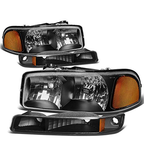 GMC Sierra/Yukon GMT800 Headlight+Bumper Light Assembly Kit (Black Housing Amber Reflector) (Headlight Assembly Gmc Yukon compare prices)