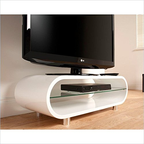 Techlink Ovid TV Stand With Curved High Gloss Carcass And Chrome Feet For Screens Up To 50-Inch ...