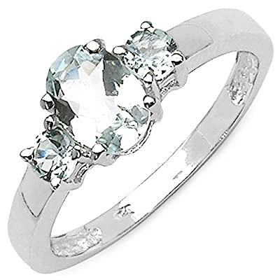 0.95 Carat Genuine Aquamarine Sterling Silver Ring: Jewelry