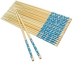Kairos Natural Round Bamboo Reusable Chopsticks, Size 9.5 Inch, Set of 10 Pairs