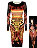 LADIES KIM KARDASHIAN CELEBRITY AZTEC TRIBAL PRINT WOMENS BODYCON MIDI DRESS