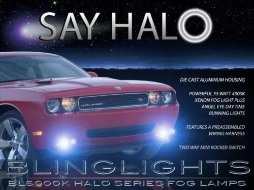 2008-2014 Dodge Challenger Fr Bumper Blue Halo Fog Lamps Angel Eye Driving Lights Kit (2008 Dodge Avenger Halo compare prices)