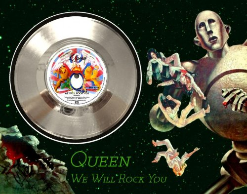 """Queen """"We Will Rock You"""" Framed Silver Record A3"""