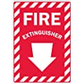 "Lyle Signs Laminated Non-Reflective Vinyl Sheeting On Aluminum Emergency Sign with Down Arrow, ""FIRE EXTINGUISHER"", 10"" Length x 7"" Width, White on Red"