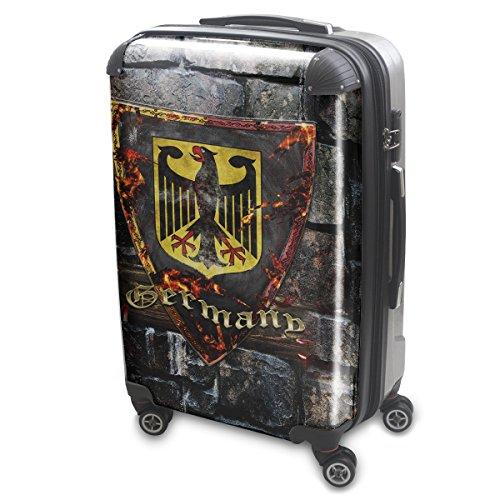 Blason Allemagne, Luggage Bagage Trolley Valise de Voyage Rigide, 360 degree 4 Roues Valise avec Echangeable Design Coloré. Grandeur: Grand, L