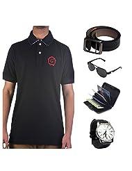 Garushi Black T-Shirt With Watch Belt Sunglasses Cardholder - B00YMLTJDM