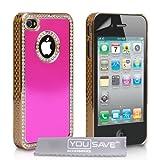 """Yousave Accessories TM Rosa Und Gold Diamanten Bling Harte Hybrid Schutzh�lle F�r Das Apple iPhone 4 / 4S Mit Displayschutzfolie Und Graues Micro-Fase Poliertuchvon """"Yousave"""""""