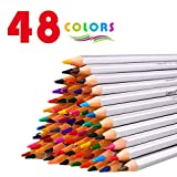 48 Colored Pencils with Pencil extender holder, Laneco Soft Core Art Assorted Colored Drawing Pencils set In Metal Tin Case for Adult Coloring Books, Writing, Sketch, Artists, Kids