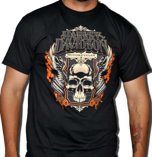 Harley-Davidson Mens Skull Pipes Black Short Sleeve T-Shirt (X-Large)