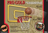 POOF-Slinky - Pro Gold Over The Door 23-Inch Breakaway Rim Basketball Hoop Set with Clear Shatterproof Backboard and 5-Inch Inflatable Ball, 464BL