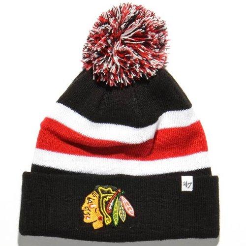 Nhl Chicago Blackhawks Breakaway Cuff Knit Cap, One Size, Black front-908117