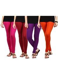 Jbk Arts Women Cotton Lycra Premium Leggings ( Set Of 4 ) ( L4-DP-M-PR-O, Multi-Coloured, )