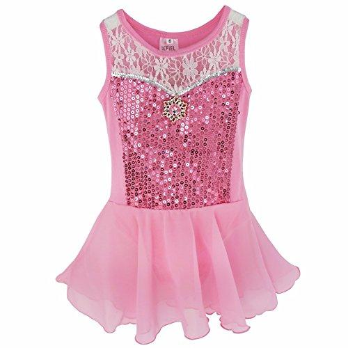 FEESHOW Girls Kids Toddler Sequins Ballet Leotard Dress Gymnastic Dance Costumes