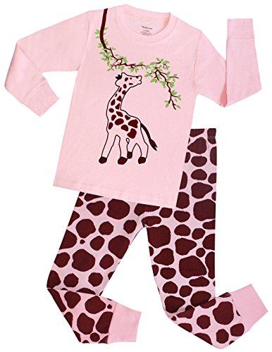 girls christmas pajamas giraffe long cotton toddler clothes kids sleepwear pjs