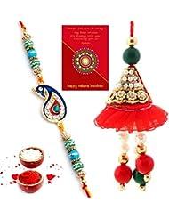 Ethnic Rakhi Designer Colorful Floral Pattern Fashionable And Stylish Bhaiya Bhabhi Mauli Thread And Beads Rakhi... - B01IIMD2BK