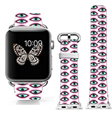 buy New Apple Watch Band W Metal Clasp, Apple Watch Band Leather Apple Watch Accessories Wristband For Apple Watch & Sport & Edition (Metal 38Mm) Wacky Eyes Pattern