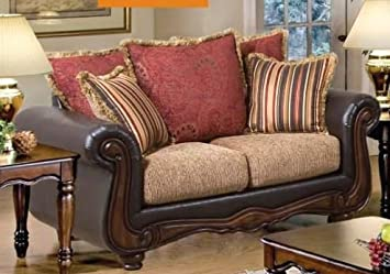 ACME 50316 Olysseus Loveseat with Floral Design, Brown