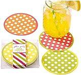 Two's Company Cupcakes and Cartwheels Polka Dot Coasters, Set of 12