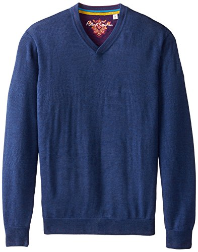 Robert Graham Men's Newcastle V-Neck Sweater, Navy, X-Large
