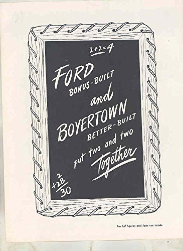 1948 1949 Ford F3 Boyertown Parcel Delivery Truck Brochure & Letter
