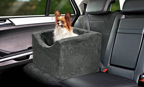 Precious Tails Gray Pet Booster Car Seat High Density Foam with Safety Strap Medium (Pet Booster Car Seat compare prices)