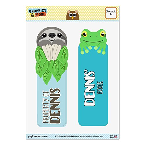 set-of-2-glossy-laminated-sloth-and-frog-bookmarks-names-male-dav-di-dennis