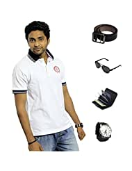 Garushi White T-Shirt With Watch Belt Sunglasses Cardholder