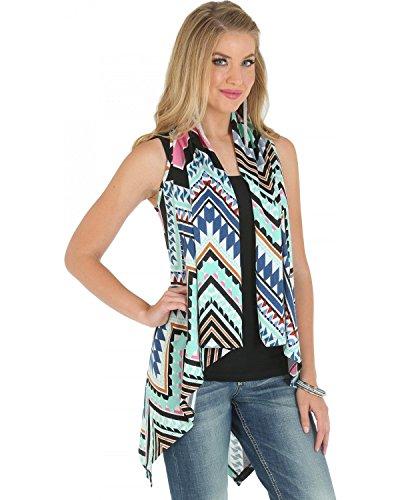 Wrangler Women's Sweater Knit Aztec Print Vest Blue X-Large