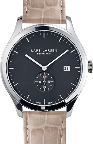 Lars Larsen Ayo Unisex Quartz Watch with Grey Dial Analogue Display and Grey Leather Strap 129SGSL