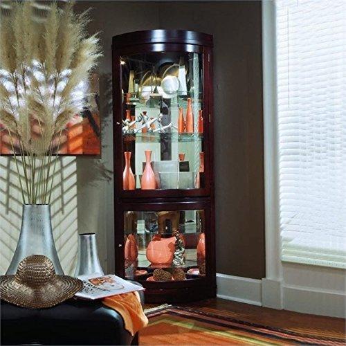 Beaumont Lane Corner Curio Cabinet in Chocolate Cherry