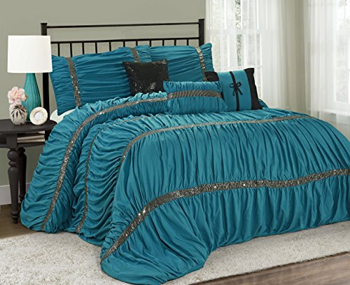 7 Piece CLARAITA Chic Ruched Pleated Comforter Set-Queen King Cal.King Size (King, Turquoise) King