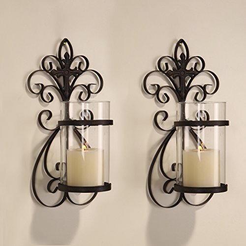 Iron Candle Holder Wall Sconce : NEW Adeco Iron & Glass Vertical Wall Hanging & Cross Design Candle Holder Sconce eBay