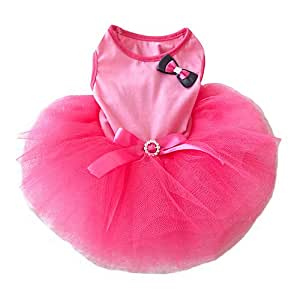 Pink Bow Small Pet Dog Clothes Dress Pink (S)