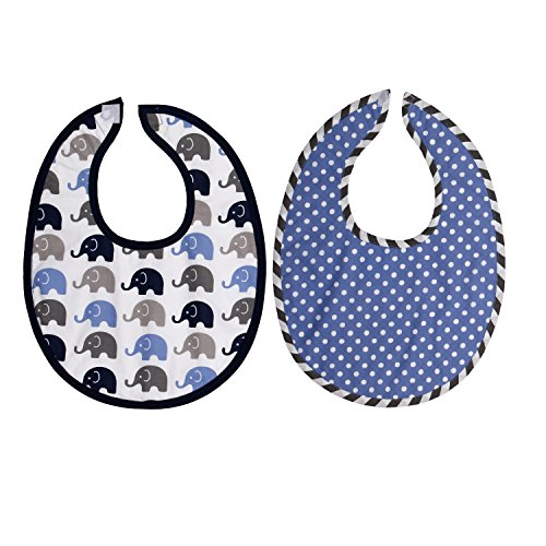 Bacati Elephants Burpies Set, Blue/Gray