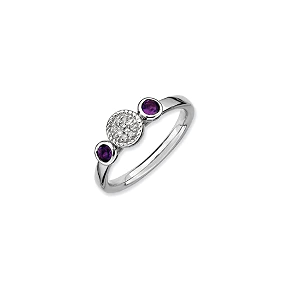 Black Bow Jewellery Company : Rhodium Plated Silver Stackable Amethyst and Diamond Ring