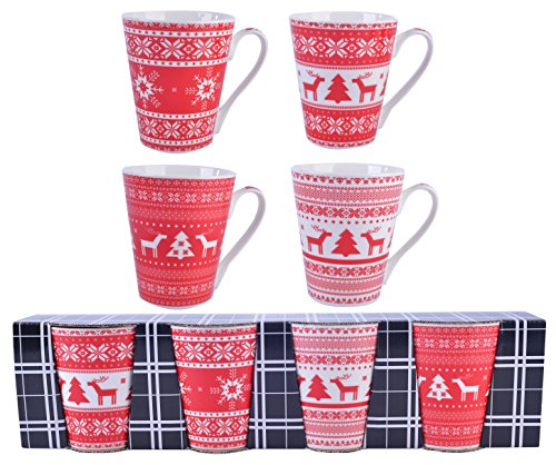 Set of 4 Christmas Holiday Mugs in Gift Box