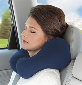 Sunshine Pillows Ergonomic Travel Neck Pillow, Comfortable Neck Support, Navy Blue, Medium