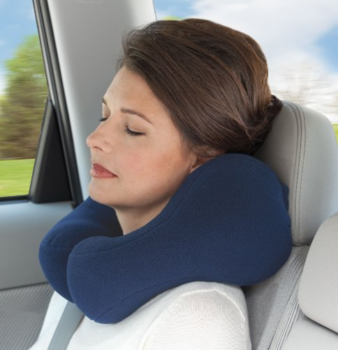 Sunshine Pillows Lavender-Scented Travel Neck Pillow, Navy Blue, Small