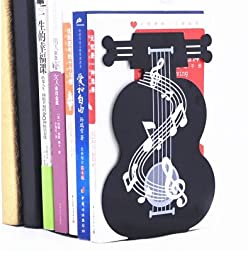 1Pair Noble Violin Style Nonskid Bookends Art Bookstand black