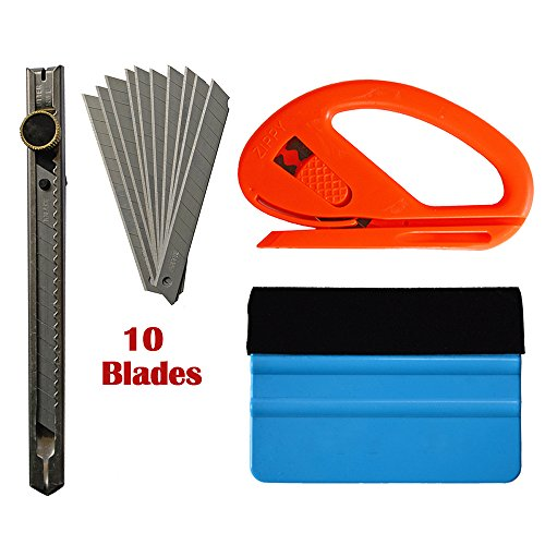 "Ehdis Car Glass Protective Film Installing Tools: 4"" Felt Edge Car Squeegee, Snitty Safety Vinyl Cutter, Auto Lock Utility Knife"