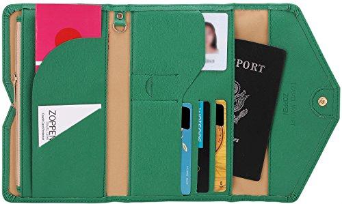 Zoppen Mulit-purpose Rfid Blocking Travel Passport Wallet (Ver.4) Trifold Document Organizer Holder, Forest Green