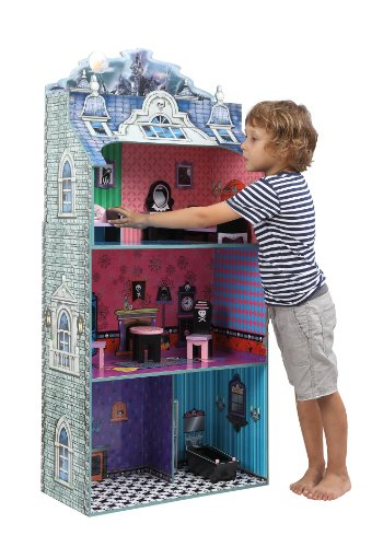 Teamson Kids Monster Mansion Wooden Doll House With 7