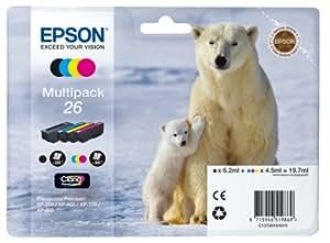 Epson N°26 Cartouche d'Encre d'Origine Claria Premium Multipack - Noir, Cyan, Magenta, Jaune