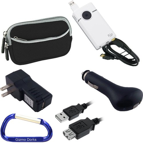 Ultimate Travel Kit: Neoprene Dual Pocket Zipper Case (Black), Mini HDMI Type C to HDMI Type A Cable, USB Extension Cable (6 Feet), Car Charger, Wall Travel/Home Charger, and Free Carabiner Key Chain for the Cisco Flip Video SlideHD (Flip Slide compare prices)