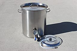 CONCORD Stainless Steel Home Brew Kettle Triply Bottom Mash Tun w/ 2 Welded On Couplers (80 QT)