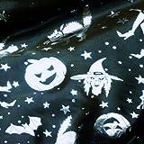 Black Satin Fabric with Multi Halloween Silver Foil Print Per Metre