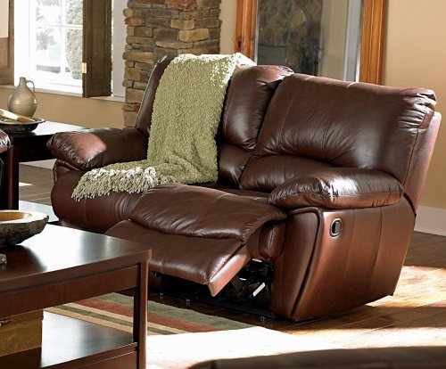 Clifford Double Reclining Love Seat In Brown Leather By Coaster Furniture
